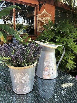 Shabby Chic Jug, Bucket And Artificial Lavender
