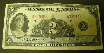 1935 CANADA $2 BANKNOTE - Bank of Canada FINE Serial #A335453   Osbourne/Towers