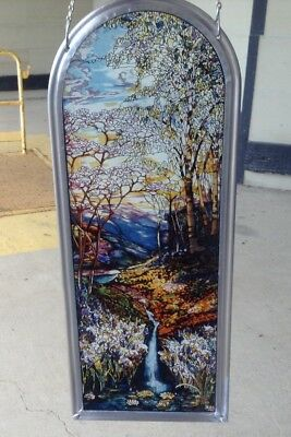 Tiffany Waterfall by Louis Comfort Tiffany Stained Art Glass Panel  Glassmasters