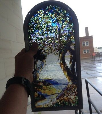 Louis Comfort Tiffany Intertwining Lives  Stained Art Glass Panel