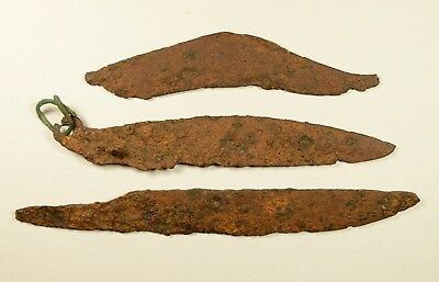 Lot Of 3 Ancient Iron Knives / Blades - Large Size
