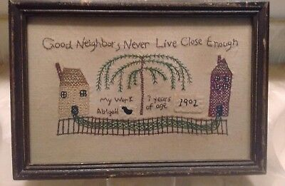 Antique 1902 Sampler by 7 year old Abigail