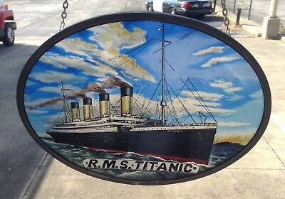 """Glassmaster """"R.M.S. Titanic """" Stained Glass Panel, New in Box .. Free Shipping"""
