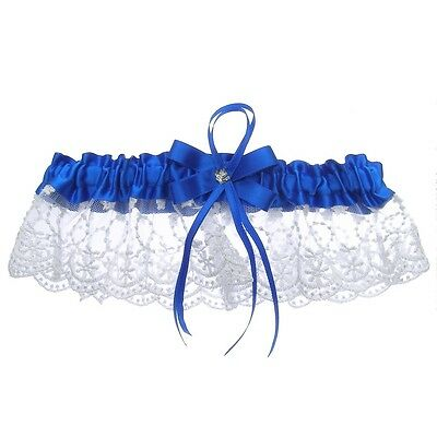 DivaDesigns Luxury Ruffle Lace with Square Crystal Ribbon Wedding Garter