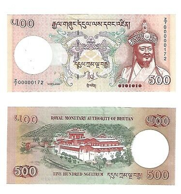 """Bhitan 500 Ngultrum  Old Issue """"z/1"""" Replacement Note Scarce   Nice Unc"""