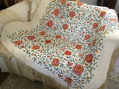 Antique Chinese Silk Canton Embroidered Flowers Fringed Piano Shawl
