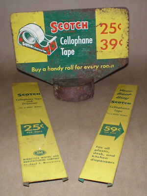 Vintage 1950's 3-M Scotch Tape Drug Store Countertop Display Sign Tin Topper