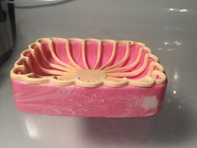 Vintage Pink Marbled Plastic Soap Dish Retro