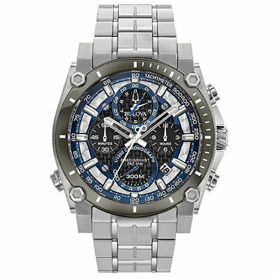 Bulova Men's Precisionist Black/Blue Dial Silver Tone Bracelet Watch 98B316