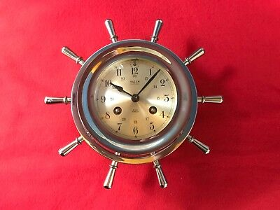 Salem Ships Bell 8 Day Jeweled Clock