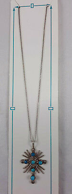Cross Pendant Necklace Sterling Silver .925 Blue Turquoise