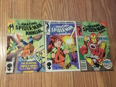 Amazing Spiderman Annual Lot, 18, 19, 20, 1984, 1985, 1986, Iron Man