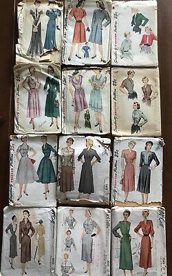 Lot of 30 Vintage Sewing Patterns 1930's 1940's 1950's Women's Sz 16 18 20