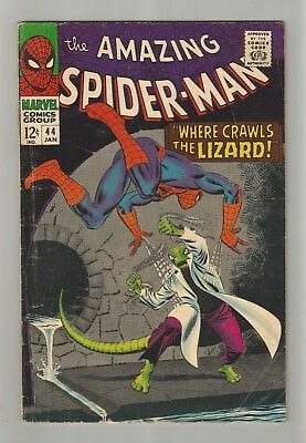AMAZING SPIDER-MAN no.44 SILVER AGE MARVEL COMIC BOOK 2nd LIZARD app. CIRCA 1966