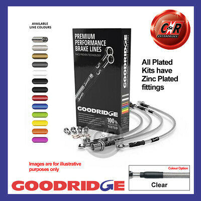 Pug 306 1.4 NoABS/RrDrums/Vent Discs 93-97 Clear Goodridge Hoses SPE0901-6P-CL