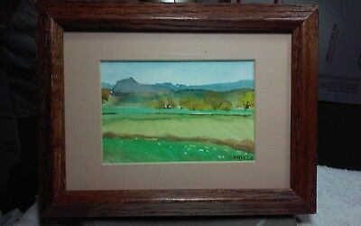 Framed,matted original 5 x 7 watercolor painting signed S.Driver