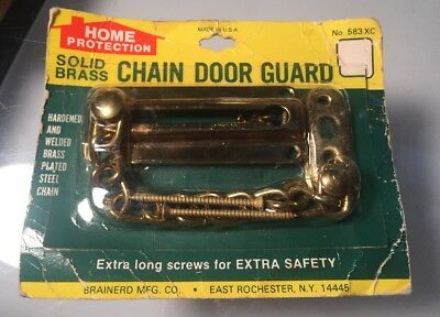 Vintage New Old Stock Solid Brass Chain Door Guard Lock Home Protection