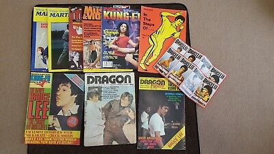 8 Martial Arts Magazines -  Dragon & Kung Fu turn into big Bruce Lee posters.