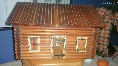 Antique Primitive 1920's LOG CABIN Dollhouse Trinket BOX BY MCGRAW BOX CO NY