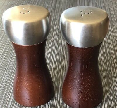 Vintage Salt And Pepper Shaker Danish Mid Century Wood And Metal Retro Modern