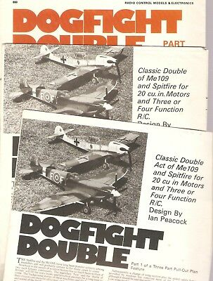 DOGFIGHT  DOUBLE- R/C - 3  FULL SIZE PLANS  ~ Model Aircraft ~AERO MODELLER