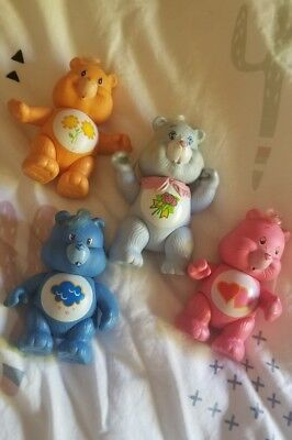 LOT of 4 Vintage 1980s Care Bears Poseable Toy Figures