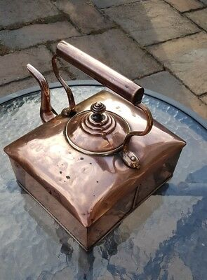 Copper english Victorian Large Square Ships Kettle