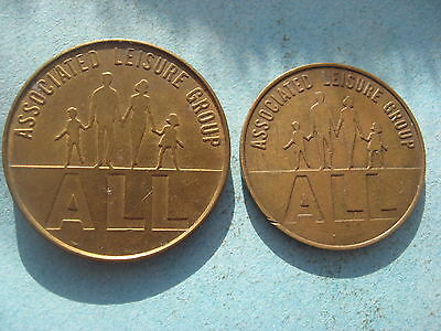 2 X SIZE ALL ASSOCIATED LEISURE GROUP (10p) & (1062B) GOLD COLOURED TOKEN COIN