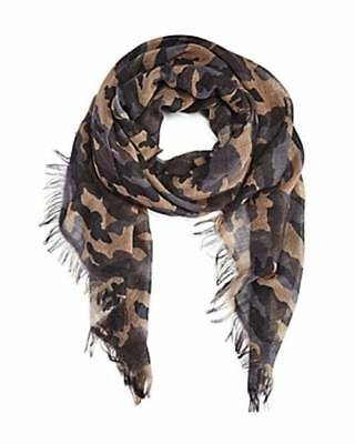 $220 BLOOMINGDALE'S Mens GRAY BEIGE CAMO WOOL WINTER WARM SCARF SHAWL MUFFLER
