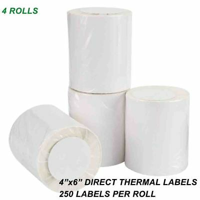 4 Rolls Direct Thermal Labels 250/Roll 4x6 For Eltron Zebra 2844 ZP450 TLP 2824