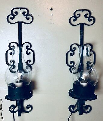 Vintage Medieval Heavy Metal Crystal Wall Sconce Chimney Acid Etched Glass Shade
