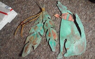 2 mid century style 1990  signed southwest copper wall sculptures wolf,feathers