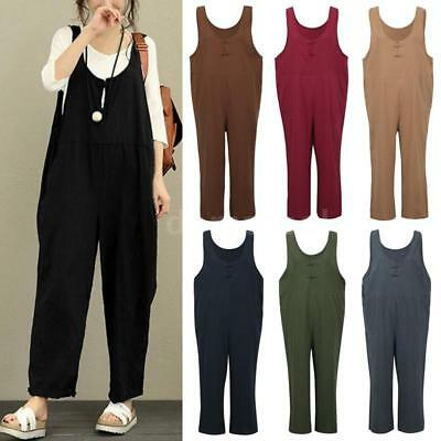 4ae40676e1cf PLUS WOMEN CASUAL Loose Pants Jumpsuit Strap Harem Trousers Overalls ...