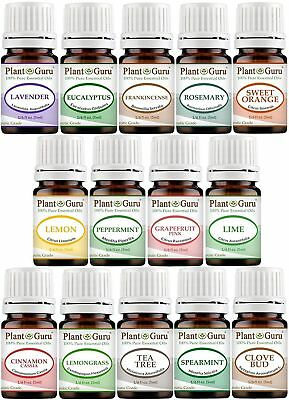 Plant Guru Essential Oil Set 14 - 5 ml. Pure Therapeutic Grade FREE SHIP