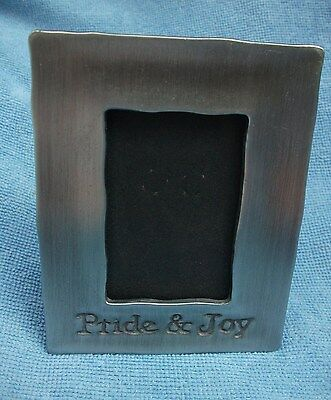 """Small PEWTER PHOTO PICTURE FRAME Baby Birth/Christening 'Pride & Joy' 2"""" x 3"""""""