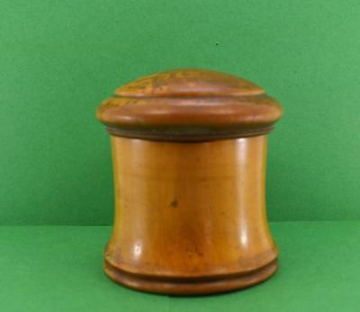 """Antique 19 c Treen turned 4"""" h boxwood jar & screw top lid as found"""