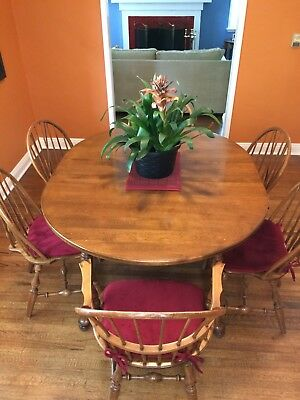Dining Room Set, 6 Chairs, 2 Captain Chairs, 1 Leaf, Solid Maple, Cal Shops