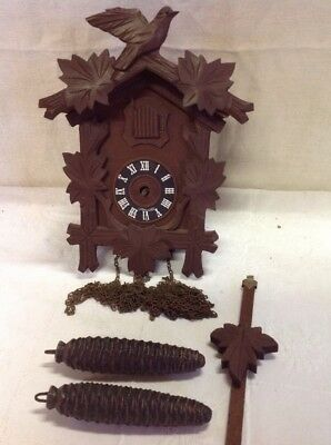 Vintage Germany Black Forest Doubled Weighted Bird Leaves Cuckoo Clock