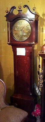 Grandfather Clock circa 1780, polished brass face, Staffordshire retailer
