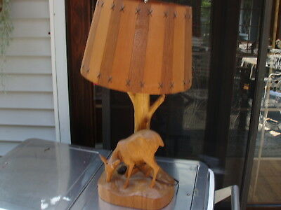 Vintage Andre Dube Wood Carved Lamp Deer Motif w Wooden Hand Made Slatted Shade