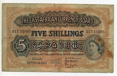 East African Currency Board  Banknote ~ 5 Shillings ~ G 17 66885 ~ 1953.