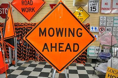 """Mowing Ahead Fluorescent Vinyl With Ribs Road Sign 48"""" X 48"""""""