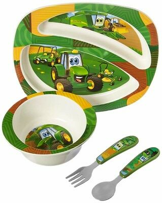 Kids Feeding Set 4 Pc John Deere Tractor Boy Toddler Plate Bowl Fork Spoon New