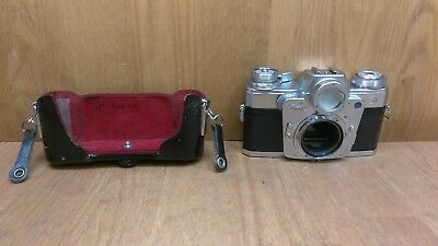 Zeiss Ikon Contarex Bullseye 35mm Film SLR Camera Body w/ Part Of Case FOR PARTS