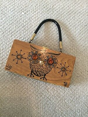 """Enid Collins Box Purse """"Night Owl"""" Signed With Initials 1959-1968 Period"""