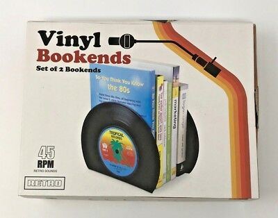 45 RPM Retro Sounds - Vinyl Bookends Set Of 2 Bookends New Free Shipping