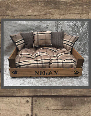 MEDIUM WOOD PET BED WITH CUSHIONS comes IN 3 colors personalised Pet Dog Bed .