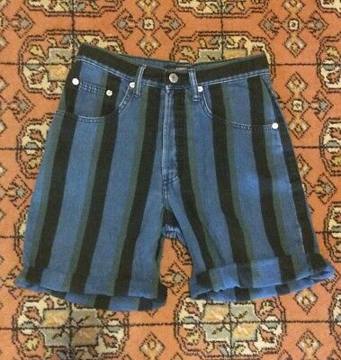 GUESS DENIM VINTAGE HIGH WAIST PIN UP STRIPED JEAN SHORTS  size 26
