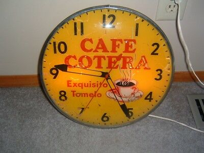 Vintage Lighted Pam Wall Clock, Coffee Cafe Lights & Working