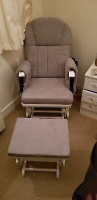 Mothercare Reclining Glider Chair Breastfeeding White With Grey Cushions + Stool